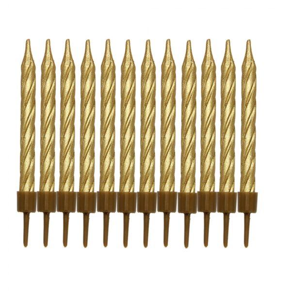 Свечи в торт набор 10 штук Золото
