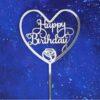 Топпер Cердце Happy Birthday серебро