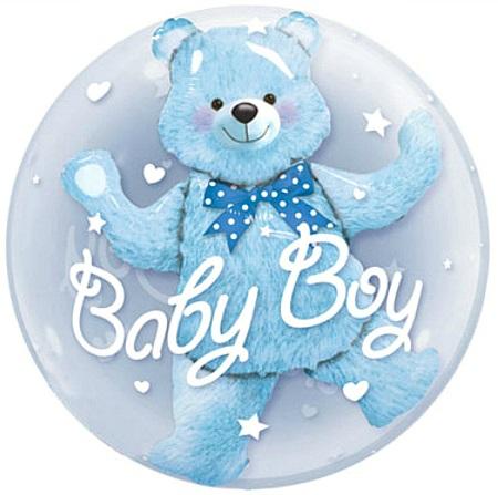 шары медведь голубой