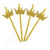Трубочки для коктейля Короны золотые 6 шт.