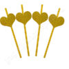 Трубочки для коктейля Сердца золотые 6 шт.